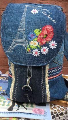 Купить рюкзак Парижские каникулы. - синий, рисунок, Париж, парижский стиль, маки, рюкзак