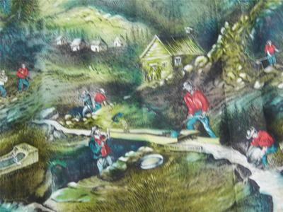 John Wolf gold miner vintage fabric
