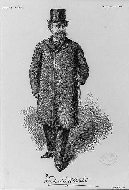 Illustration of Samuel Ward McAllister, (1827-1895). Self-appointed arbiter of New York City's Gilded Age society.  Appearing in TOWN TOPICS, January 11th, c.1894.
