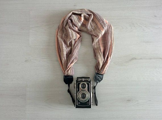 Camera strap scarf Camera scarf strap Fabric camera strap Scarf camera strap DSRL camera strap Camera accessories Fabric camera strap