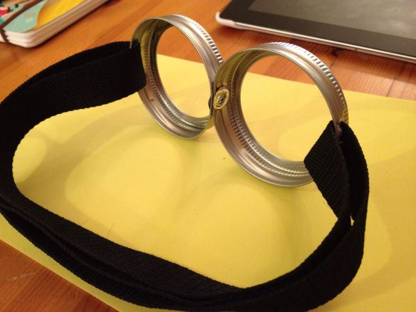Mason jar lids make the perfect minion goggles! I have a whole case of mason jars in my basement for these!