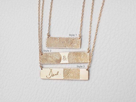 Tatsächlichen Fingerabdruck Halskette mit von GracePersonalized
