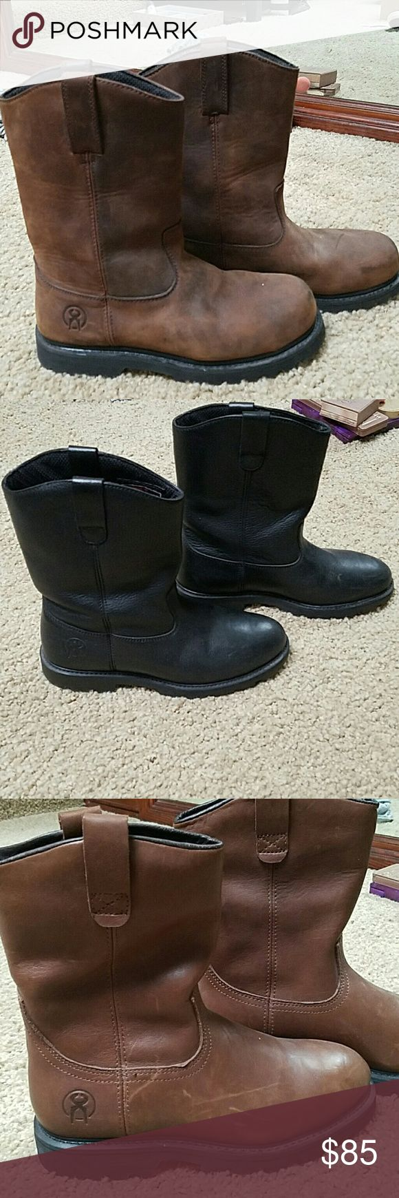 JESSE JAMES Work Boots Brand New Never Worn. JESSE James from West Coast Choppers work boots. From his collection. 3 pairs total. One black and two brown. West Coast Choppers Shoes Boots