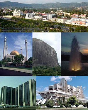 Nigeria - capital: Abuja - photos: from top (L-R): View of a street in Wuse district, Abuja National Mosque, Zuma Rock, fountain in Millennium Park, Central Bank headquarters and Defence headquarters (Ship House)