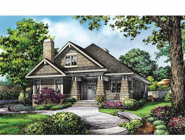 SIMPLE Eplans Bungalow House Plan - Fireplaces Indoors and Out - 1543 Square Feet and 2 Bedrooms(s) from Eplans - House Plan Code HWEPL69179