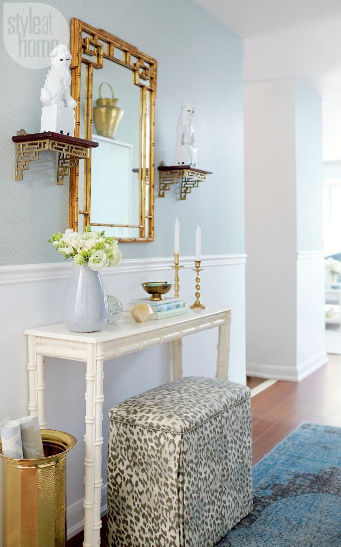 Bamboo Mirror - Painted Bamboo Console - Upholstered Bench -  Olivia Lauren Interior Design