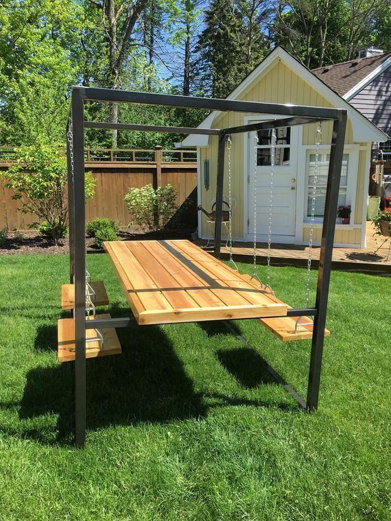 4 Seat Swing Table Meubles De Jardin En Bois Balancoire Jardin