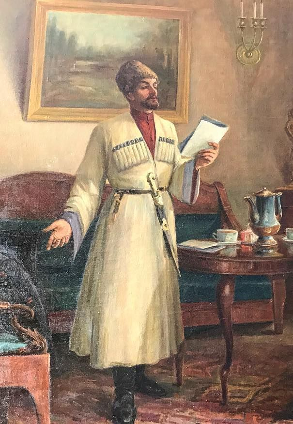 Circassian educator, philologist and poet Shora Nogmov wearing traditional Circassian costume, 18th century, 19th century, Шора Ногмов, Нэгумэ Шорэ, Negume Şore, Negume Shore, Naguma Şora, Naguma Shora, Cherkeska, white Circassian dress, sword, painting, Kabardian tribe of Adyghe, man, candles, candelabra, decanter, tea cups, armchair, wooden table, walnut tree, green velvet, carpet, fur hat, Circassia (ancient country in Eastern Europe), reading, speech, the Circassian language, house…