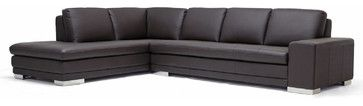 Baxton Studio Callidora Dark Brown Leather-Leather Match Sofa Sectional Reverse - transitional - sectional sofas - Baxton Studio