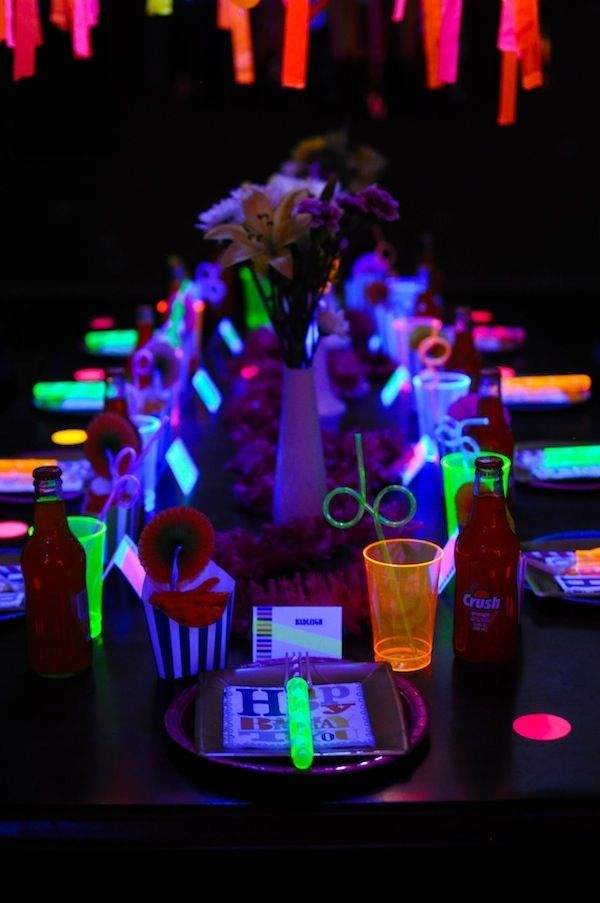 Neon glow in the dark birthday party by lea themes - Glow in the dark table ...