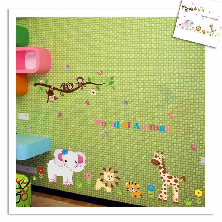 Обезьяна тигр лев слон зоопарк стикер стены для детская комната ZooYoo9052 декоративные adesivo де parede съемный пвх наклейки на стены