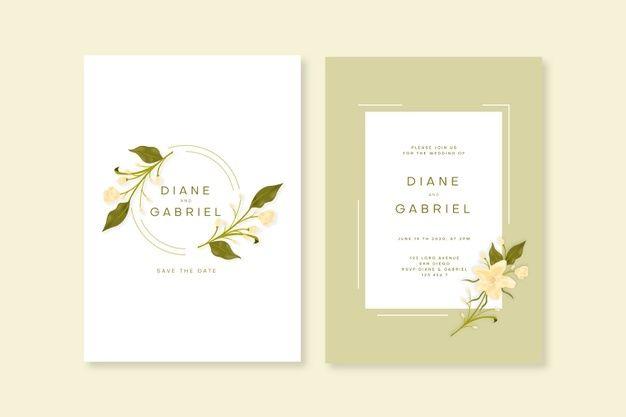 Elegant Minimalistic Floral Wedding Invitation Template Floral Wedding Invitations Floral Wedding Invitation Card Wedding Invitation Templates