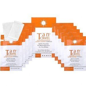 TanTowel - Half Body Classic 10 piece by Tan Towel. $17.45. Natural-looking, streak-free tan. Can achieve a wide range of color. Color seeps deep into skin for a long-lasting bronzed look. Innovative self-tanning towelette for fair to medium skin tones. Heat-sealed packets are perfect for travel. TanTowel brings you an innovation in self-tanning with the Half Body Classic towelettes. This advanced tanning technology comes in the form of convenient pulp fiber disposable towelette...