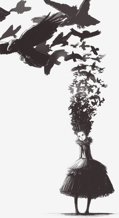 Sur cette image, une fille en robe est représentée avec des cheveux fait de corbeaux avec un arrière-plan blanc. En voyant cette oeuvre, j'ai ressenti de la tristesse, car c'est un dessin un peu sombre.