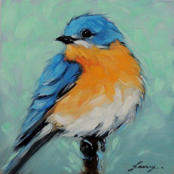 Merle-bleu 5 X 5 pouces original peinture à l'huile par LaveryART                                                                                                                                                                                 Plus