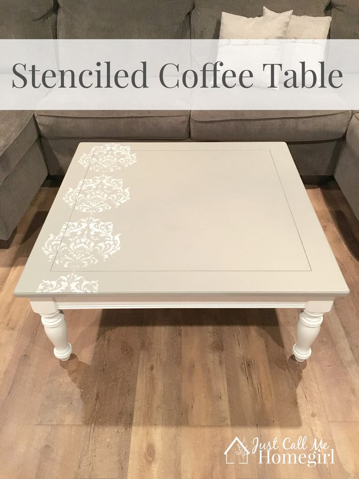 Stenciled Coffee Table using Valspar's Chalk Paint in Woolen Stockings