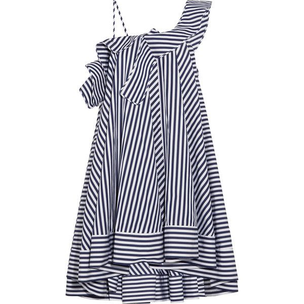 MSGM One-shoulder ruffled striped cotton mini dress found on Polyvore featuring dresses, blue, one sleeve dress, flutter-sleeve dress, navy white striped dress, mini dress and striped cotton dress