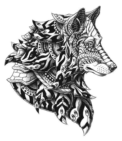 Les 700 meilleures images propos de wolf tattoos sur pinterest loups tribal wolf tattoos et - Tatouage loup mandala ...