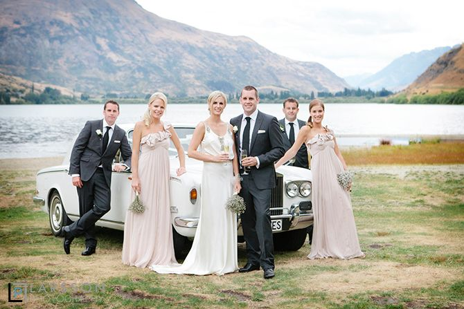 Bridal party of 6 at Lake Hayes, Queenstown with white Rolls Royce