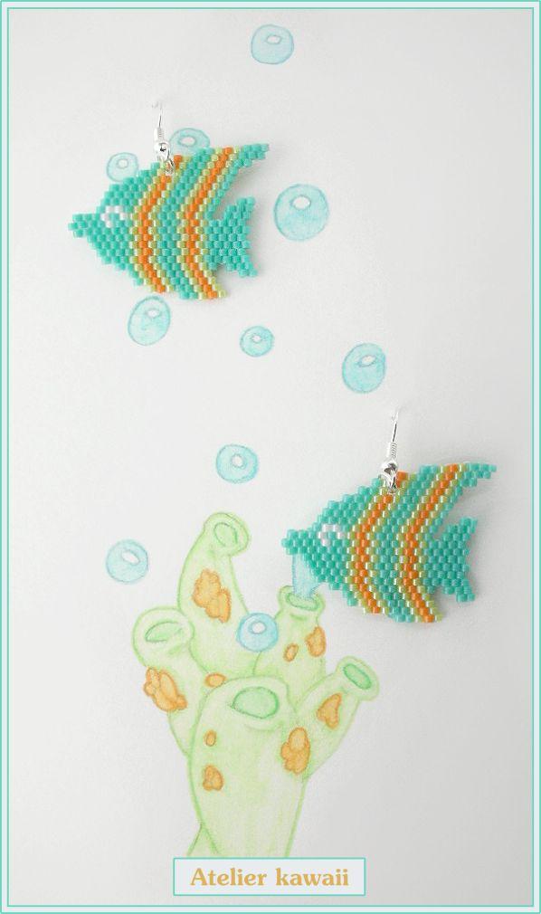 Boucles d'oreilles poisson en perles Miyuki (tissage brick stitch).