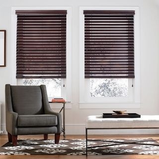 Master Bedroom blinds with white sheers  Basswood 2-inch Mahogany Wood Blinds