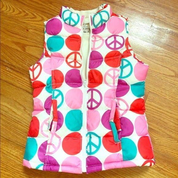 Girls Old Navy Pink Polka Dot Peace Sign Hippie Zip Up Puffer Vest Xlarge XL EUC    eBay