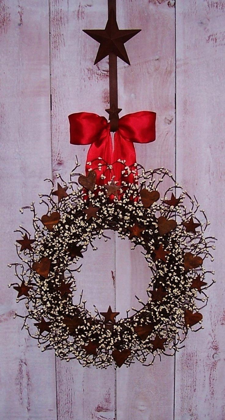 Spring Wreath-Spring Decor-Spring Door Decor-Front Door Wreath-Rustic HEART & STAR Berry Door Wreath-Rustic Primitives Country Home Decor.