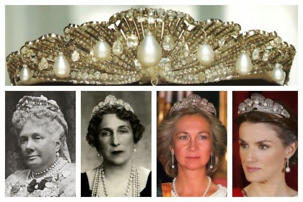 The Mellerio Shell Tiara.  This diamond and pearl tiara, designed to look like a cresting wave or a series of open oyster shells, was made in by Mellerio for the 1867 Paris Exhibition.  After the exhibition, it was given as a wedding present to Infanta Isabella by her mother, Queen Isabella II.  The tiara made its way through the various branches of the Spanish royal family and was given to Queen Sofia by her new father-in-law, the Count of Barcelona, on her wedding day in 1962.