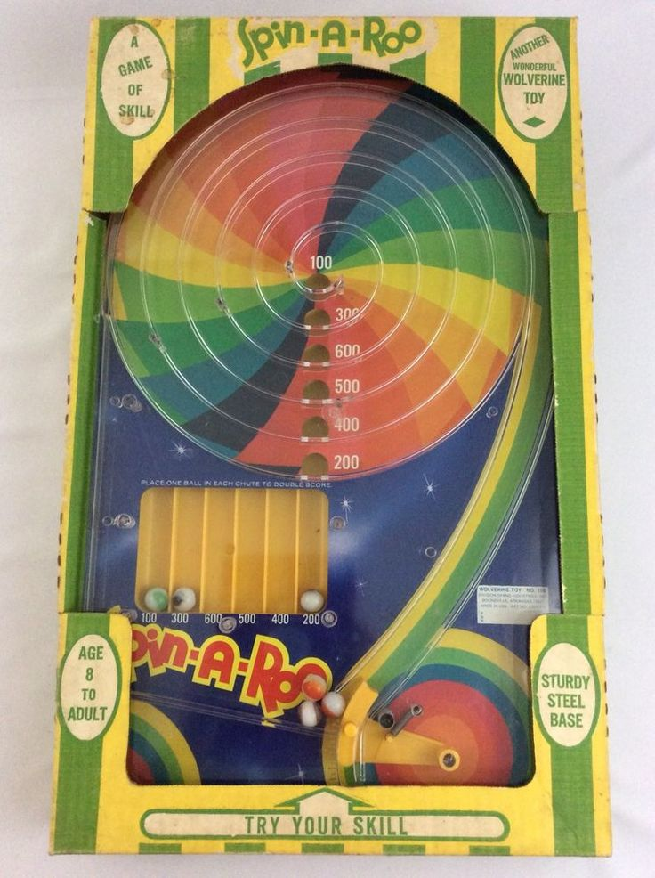 Spin-A-Roo Vintage Pinball Game by Wolverine Complete with Box and Leg Stand #Wolverine