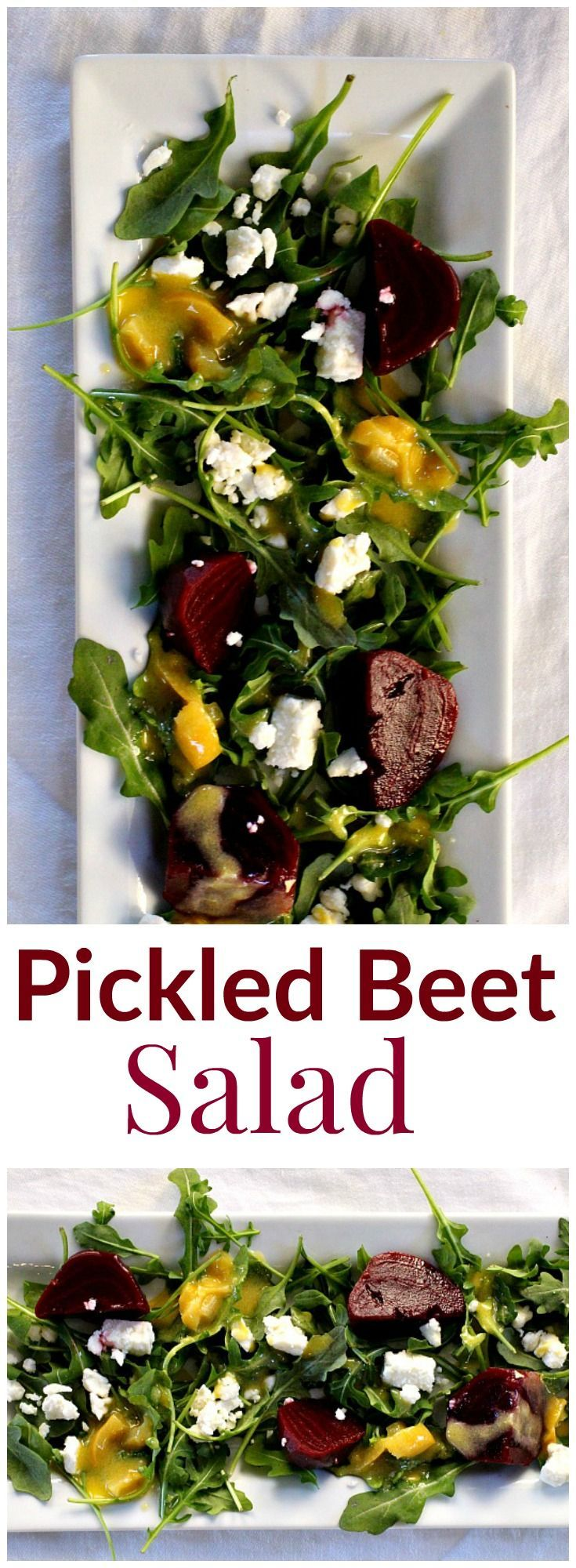 Easy Healthy Pickled Beet Salad Recipe. With arugula, feta and a creamy Dijon dressing, it'a a perfect combination of flavors. A great beet salad idea. via @lannisam