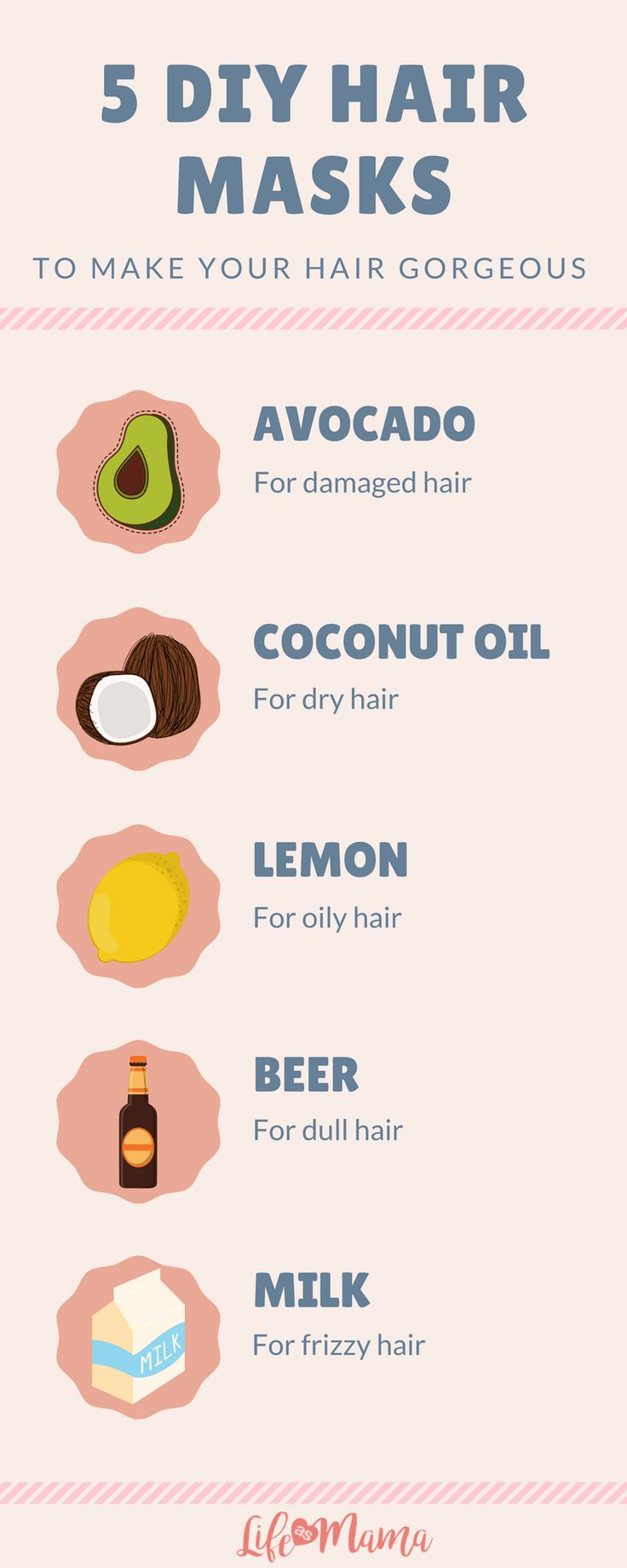 List of easy recipes for restorative DIY hair masks! Most of these are household ingredients!