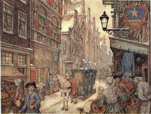 1700's city street in winter, with wealthy person's sleigh