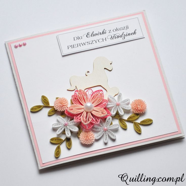 quilling, 1st birthday, handmade, greeting card, quilling.com.pl
