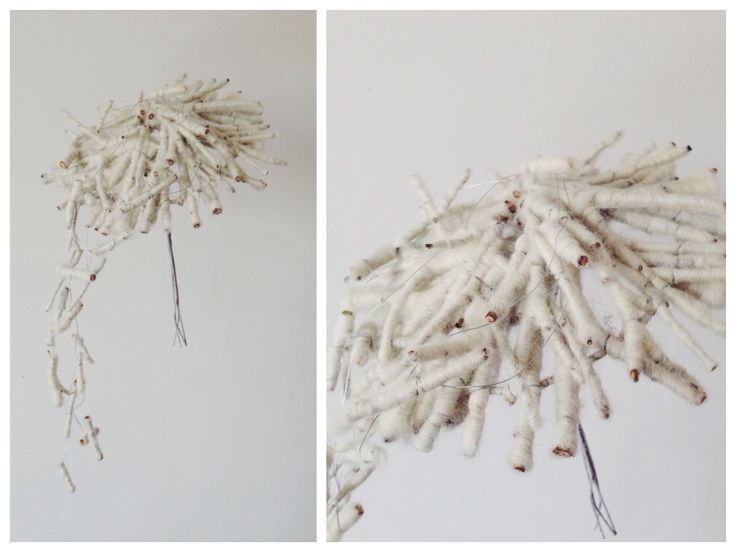 Wool and twigs structure for bridal bouquet by NO NO NO