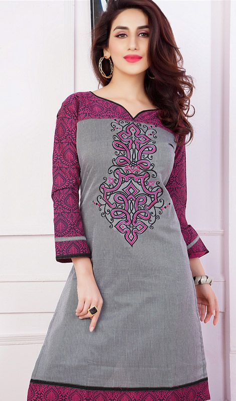 Gray Embroidered Silk Kurti with Resham Work #indian-kurtis #kurtas Price: British UK Pound £34, Euro43, Canada CA$64 , Indian Rs.3186