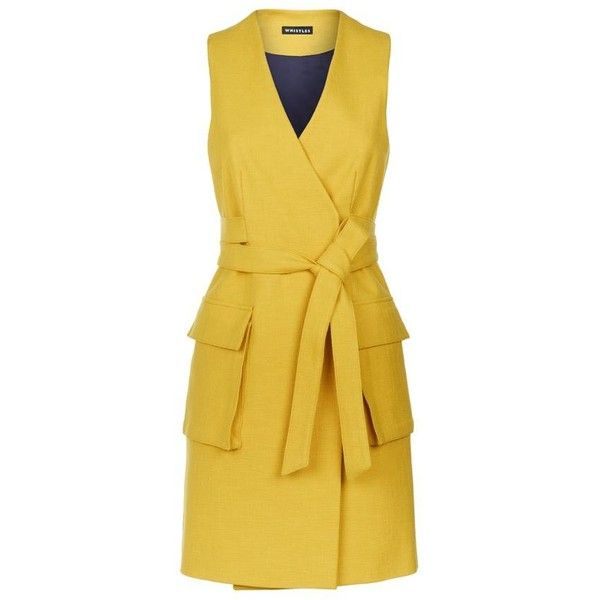 Whistles Limited Sleeveless Dress (3,165 MXN) ❤ liked on Polyvore featuring dresses, yellow dress, sleeveless summer dresses, day summer dresses, utility dress and summer dresses