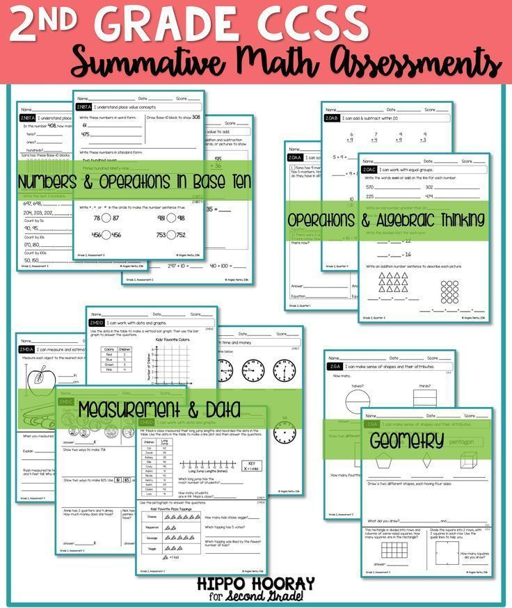 WOW! Four summative assessments for EVERY math CCSS second grade standard: Operations & Algebraic Thinking, Numbers & Operations in Base Ten, Measurement & Data, and Geometry. These are perfect for end of the grading period or report cards!