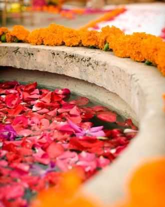 Petals filled the fountain at the ceremony site, which was bordered with orange carnations. Susan Garden, of Garden Party, designed all of the weekend's floral elements.