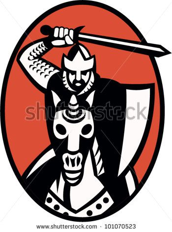 Illustration of a knight templar crusader with sword and shield riding armored horse facing front set inside ellipse. - stock vector #knight #retro #illustration
