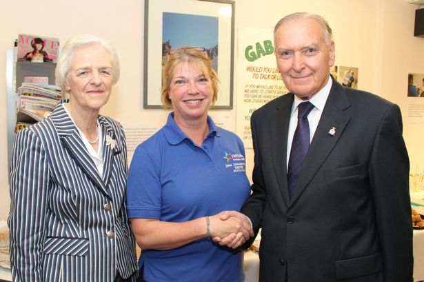 Lord Barry Jones and Lady Janet Jones meeting Centre Manager Jane Johnson-Cree