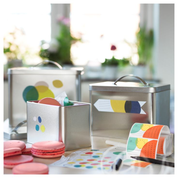 HEMSMAK Μεταλλικό κουτί με καπάκι διάφορα χρώματα 3τεμ. - IKEA