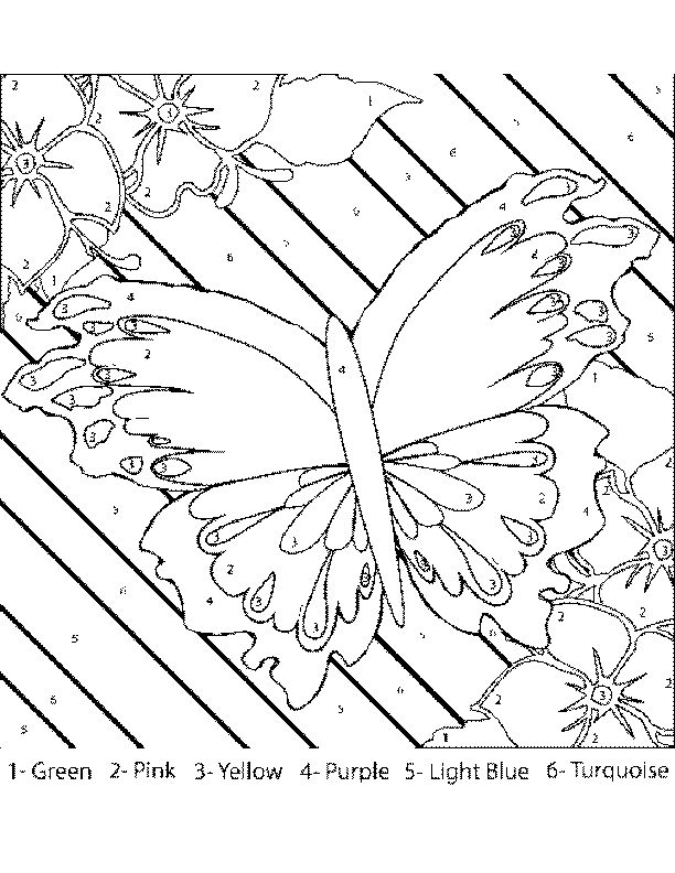 Color By Number Coloring Pages For Adults | Butterfly_with_Flowers_Color-by-Number.png
