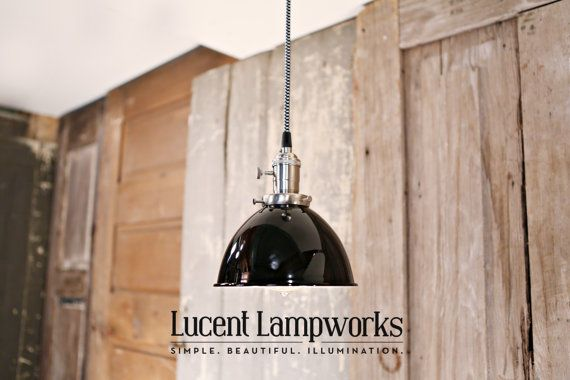 Industrial Lighting With Black Enamel Dome Shade