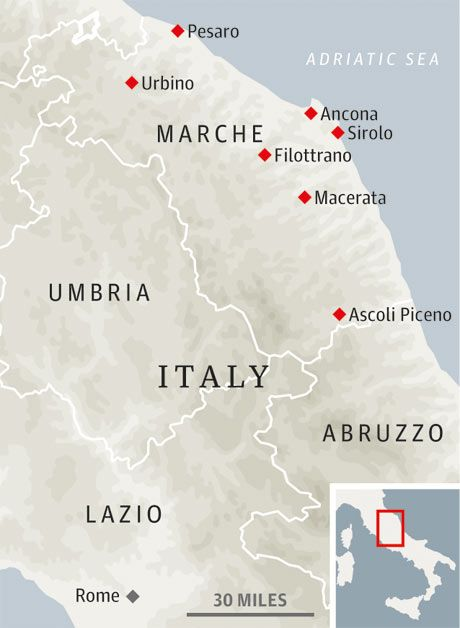 Marche map.  Le Marche on a budget