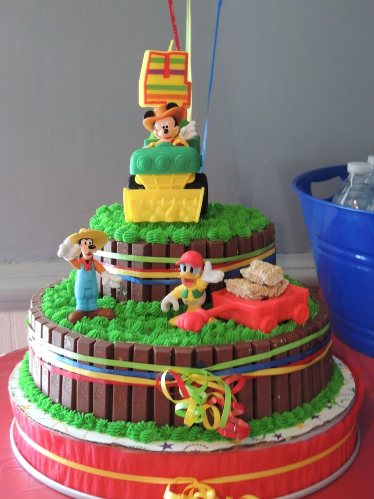 mickey mouse farm  tractor cake