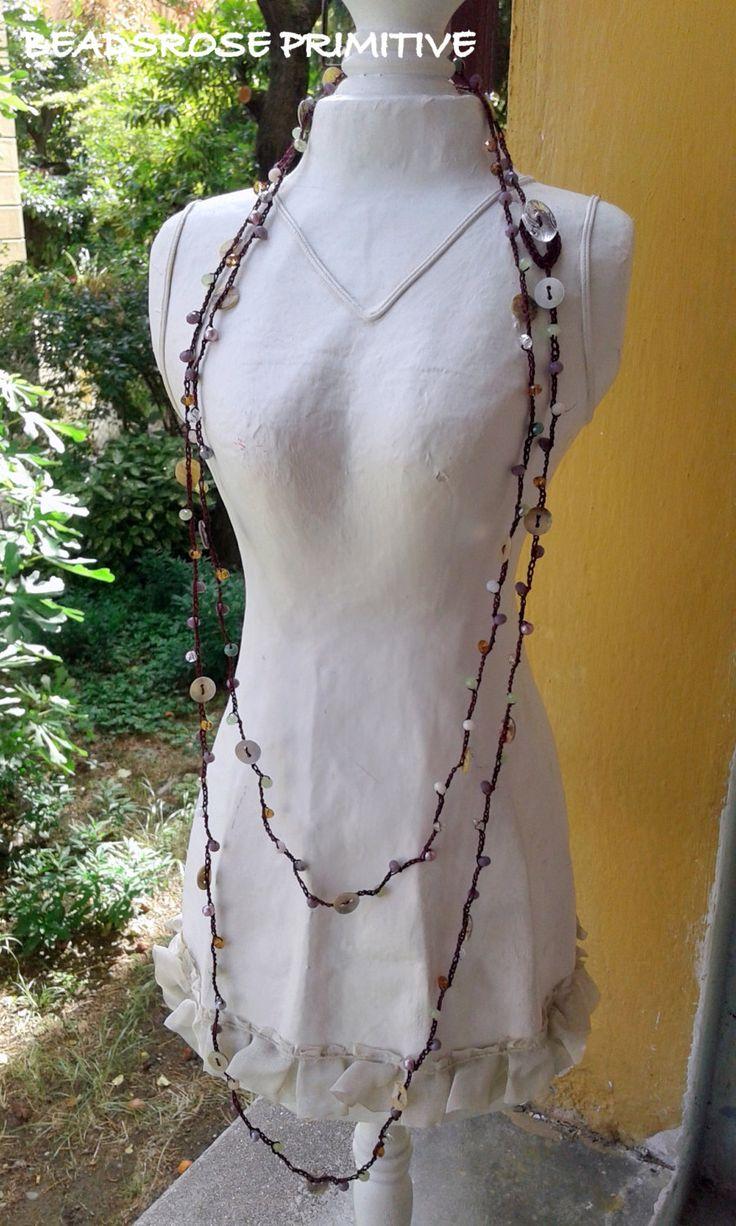 Collana lunga uncinetto crochet, wrap multigiri, madreperla, cristalli, boho-chic, perle cod. 3005 di BEADSROSEPRIMITIVE su Etsy