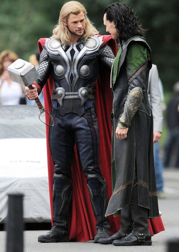 "Tom Hiddleston as ""Loki"", The Avengers, New York 2.9.2011 with Chris Hemsworth as ""Thor"""