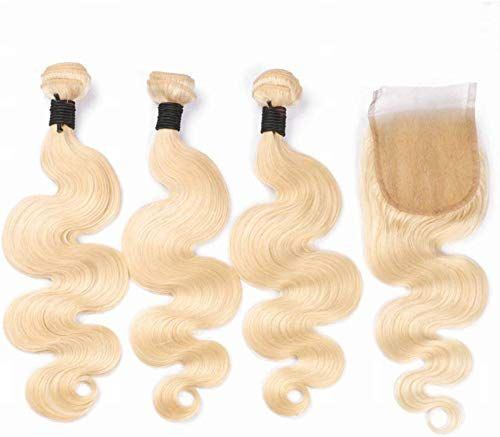Amazing offer on Fabwigs 613 Blonde Human Hair 3 Bundles Weft With Lace Closure Body Wave Unprocessed Brazilian Human Hair (14 16 18 Bundle+12 Free Part Closure) online