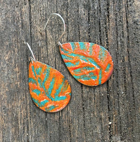 Torched enamelled teal & orange drop earring with sterling