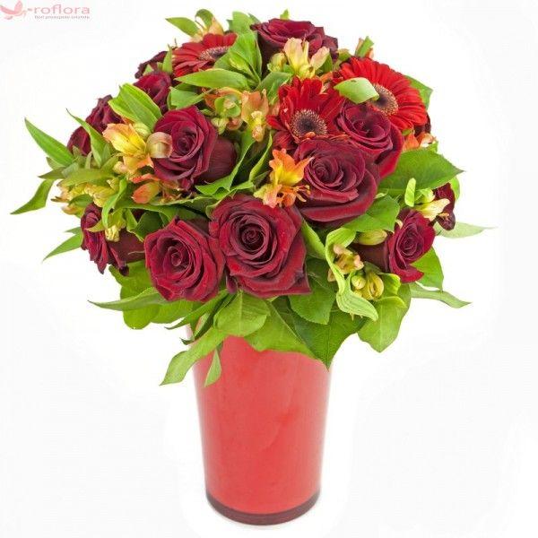 Fall in love - Buchet din trandafiri si gerbera